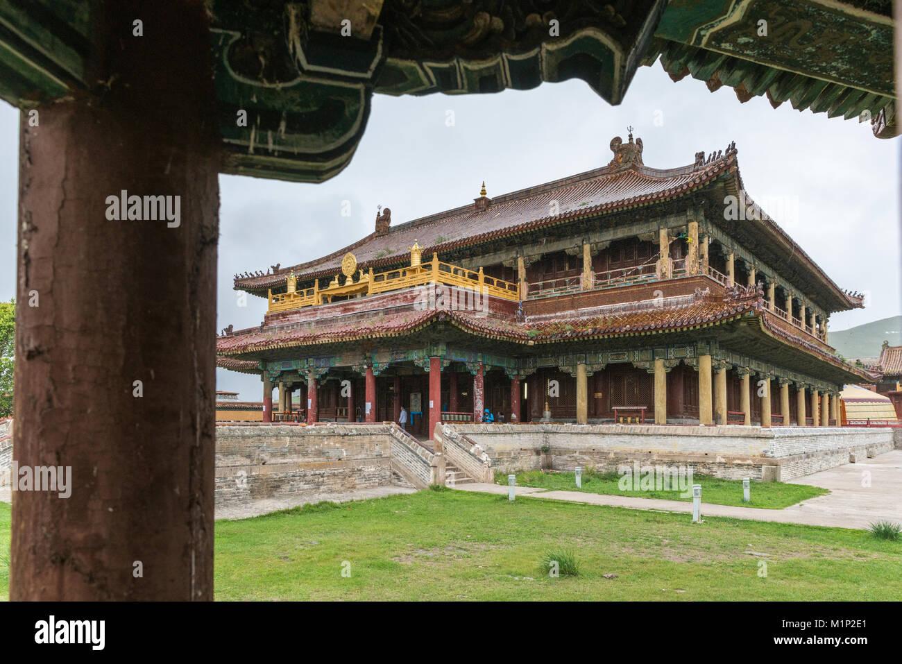 Temple in Amarbayasgalant Monastery, Mount Buren-Khaan, Baruunburen district, Selenge province, Mongolia, Central - Stock Image