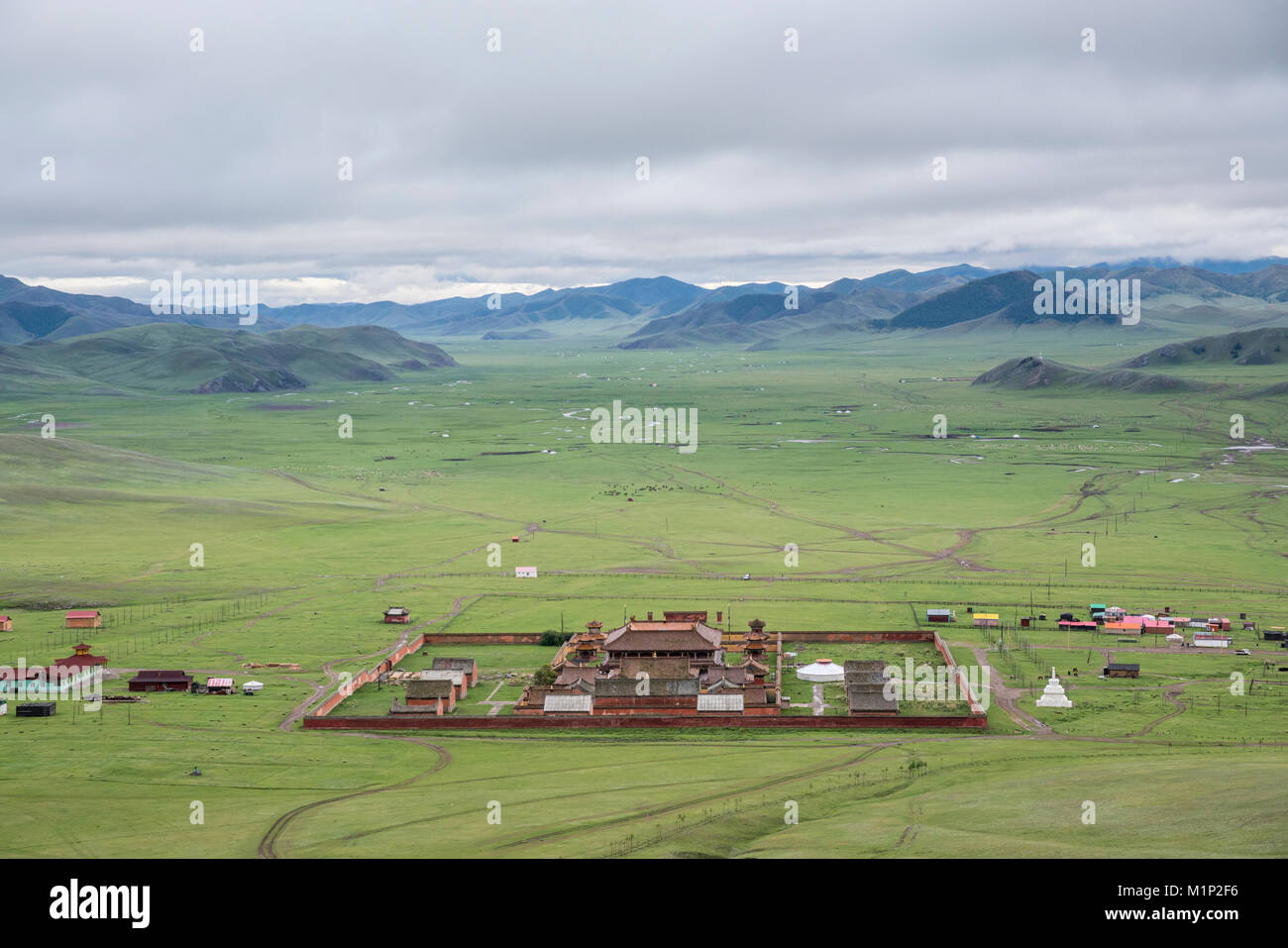 View of Amarbayasgalant Monastery from above, Mount Buren-Khaan, Baruunburen district, Selenge province, Mongolia, - Stock Image