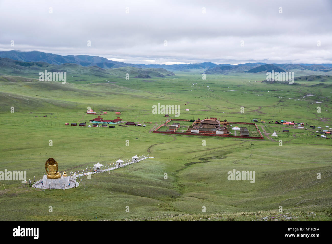 Amarbayasgalant Monastery from above, Mount Buren-Khaan, Baruunburen district, Selenge province, Mongolia, Central - Stock Image