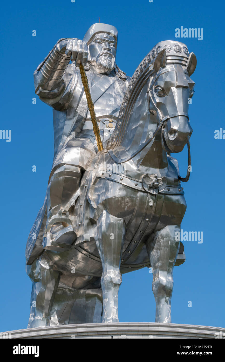 Genghis Khan equestrian statue, Erdene, Tov province, Mongolia, Central Asia, Asia - Stock Image