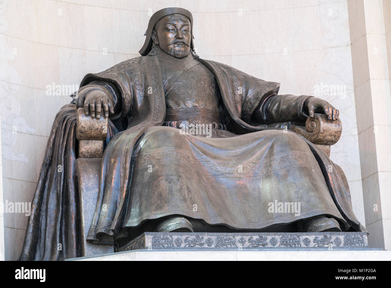 Genghis Khan statue at the Government Palace, Ulan Bator, Mongolia, Central Asia, Asia - Stock Image