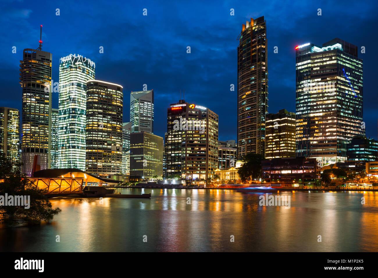Brisbane city skyline after dark, Brisbane, Queensland, Australia, Pacific - Stock Image