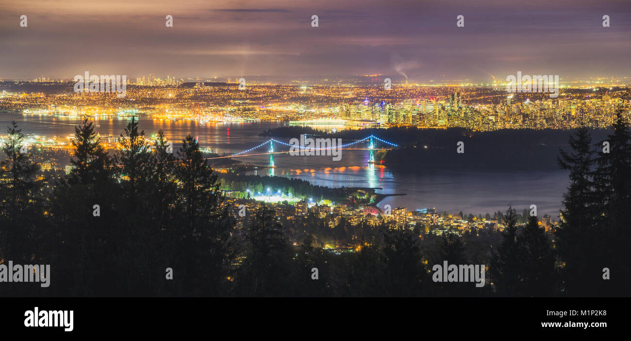 Vancouver city skyline panoramic view at night, Vancouver, British Columbia, Canada, North America - Stock Image