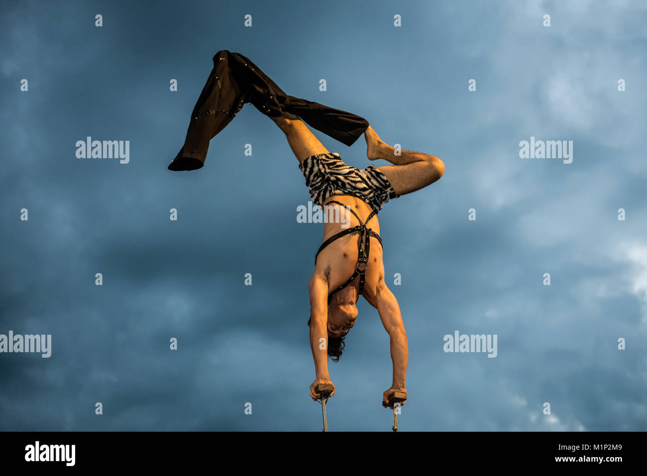Acrobat,Kulturufer,Festival with street artists,Friedrichshafen,Lake Constance,Baden-Württemberg,Germany - Stock Image