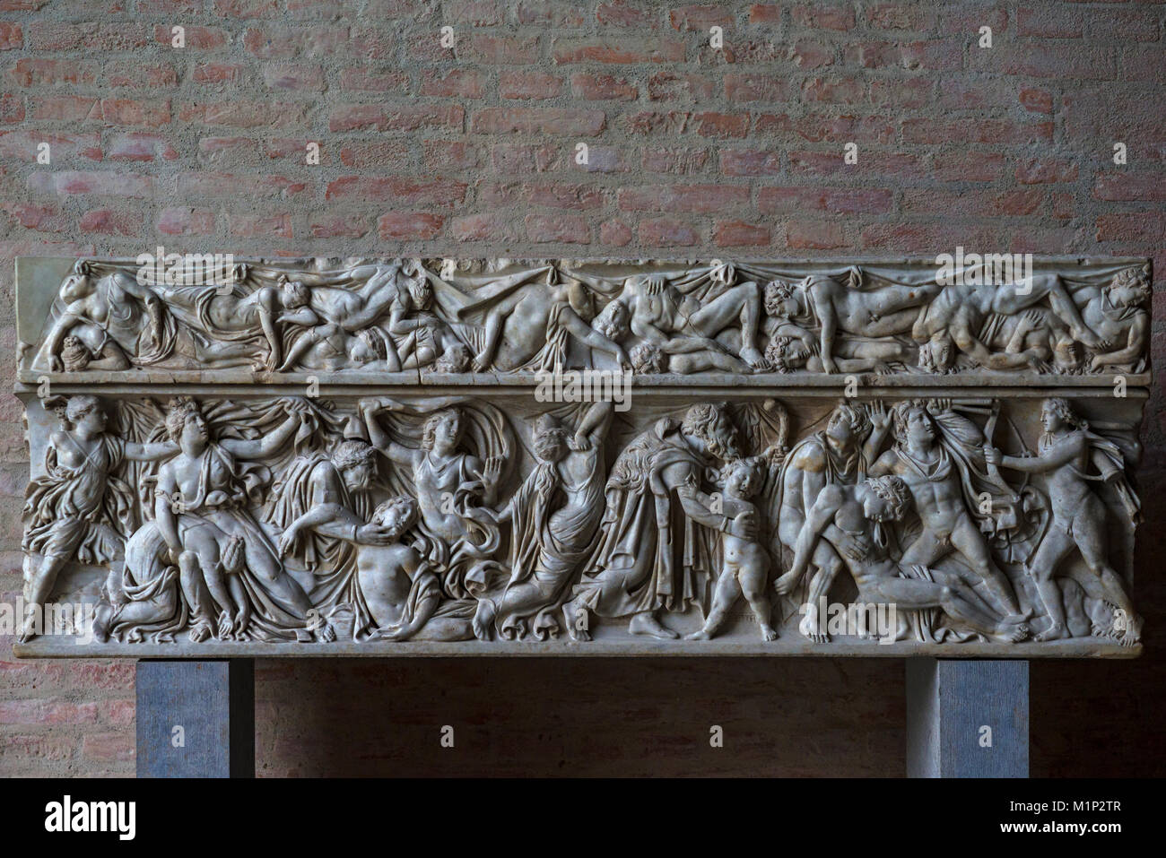 Roman sarcophagus,Orest and his sister Iphigenia with the Taurians,ca. 1409 AD,glyptotheque,Munich,Upper Bavaria,Germany - Stock Image