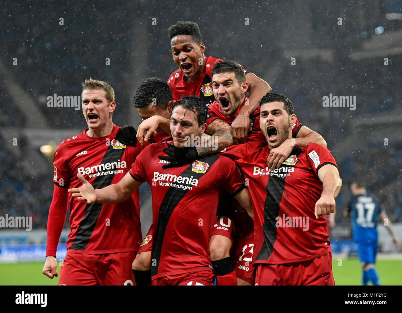Goal celebration by soccer players of Bayer Leverkusen,Wirsol Rhein-Neckar Arena,Hoffenheim,Baden-Württemberg,Germany - Stock Image