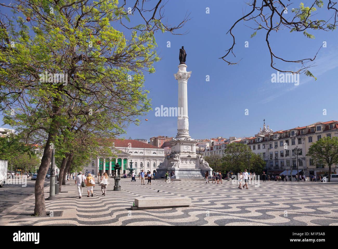 Rossio, Praca Dom Pedro IV, National Theatre Dona Maria II, Baixa, Lisbon, Portugal, Europe Stock Photo