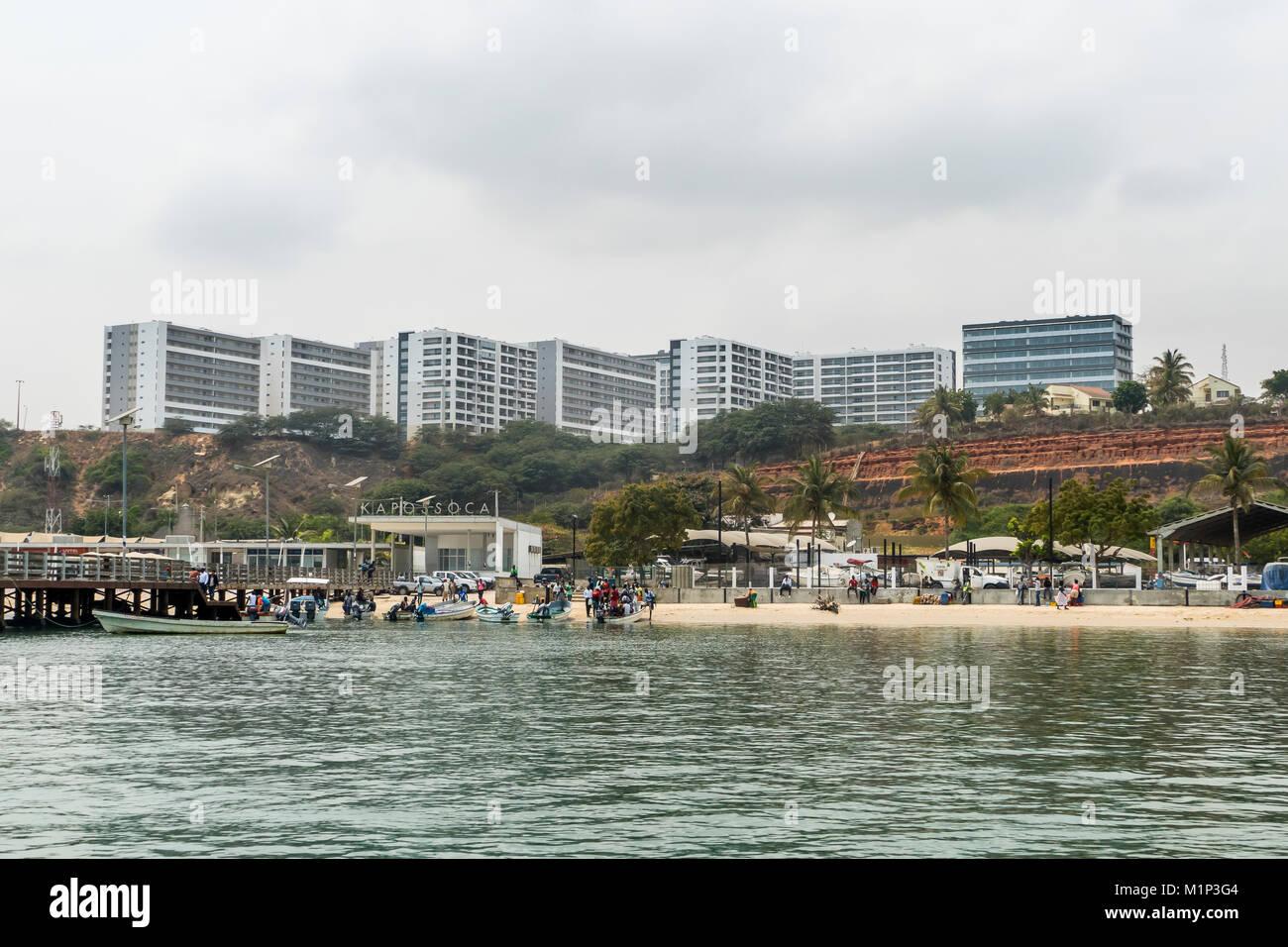 Huge apartment blocks opposite Mussulo island, Luanda, Angola, Africa - Stock Image