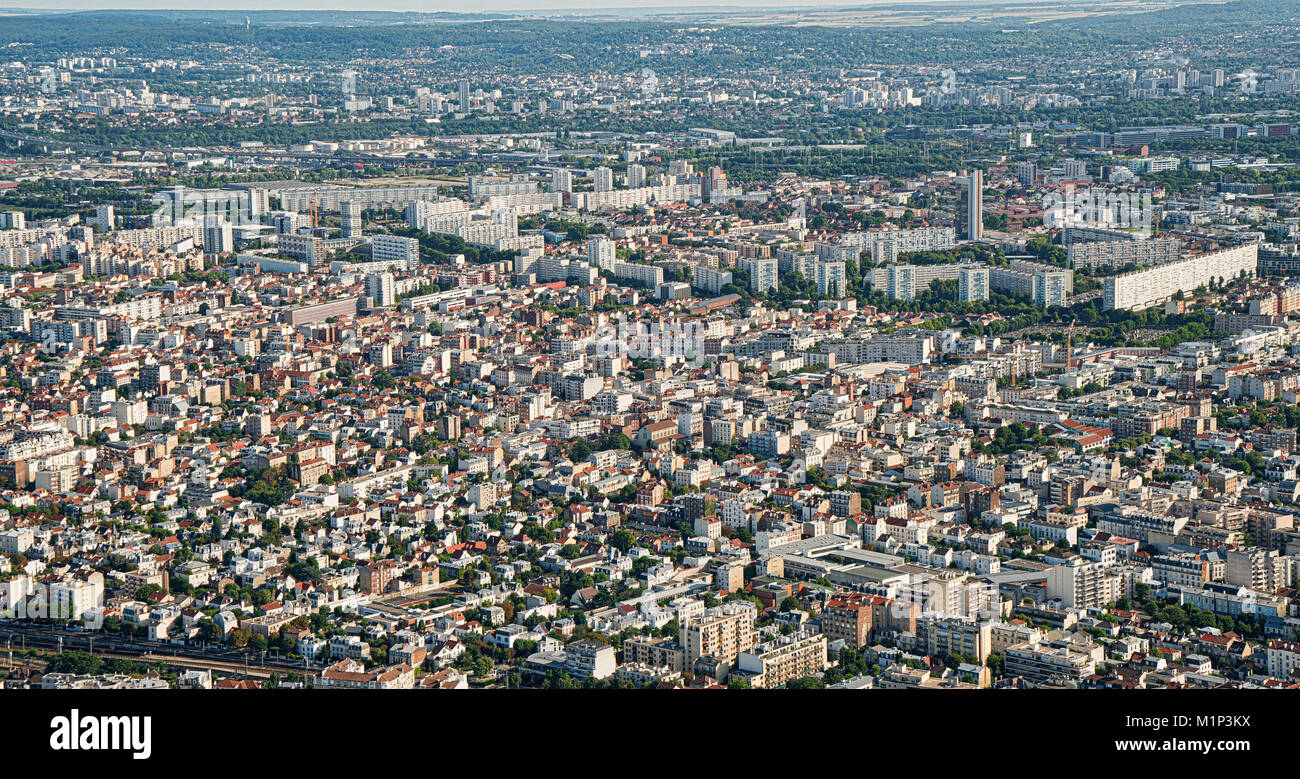 The suburbs of Paris with port area in the background and the huge flats in Ville de Gennevilliers, Paris, France, - Stock Image