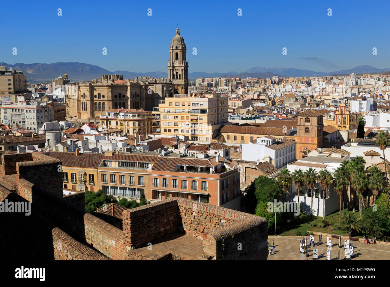 View from Alcazaba Palace, Malaga, Andalusia, Spain, Europe - Stock Image