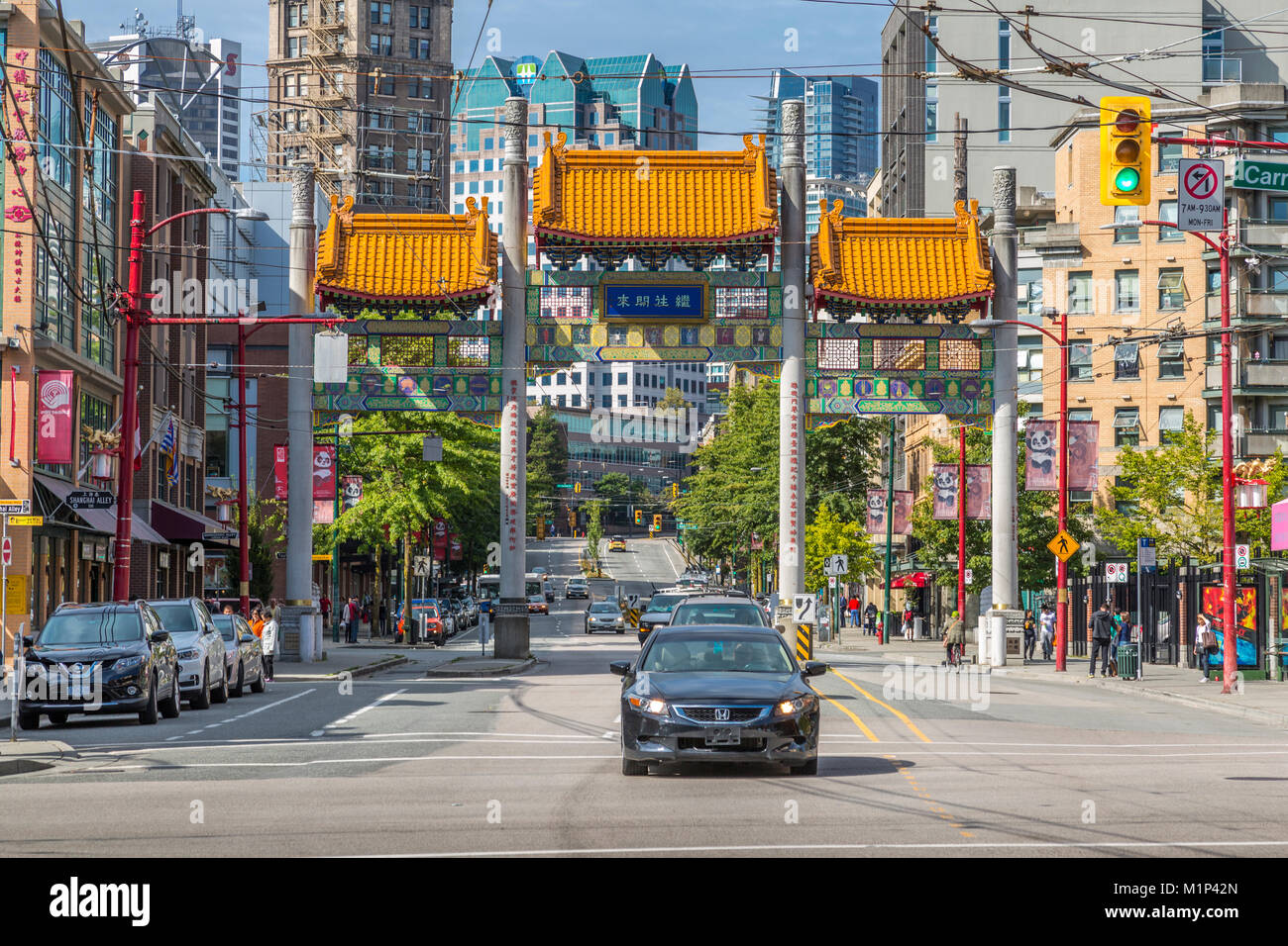 Colourful entrance to Chinatown, Vancouver, British Columbia, Canada, North America - Stock Image