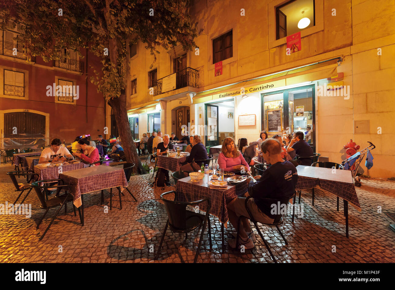 Restaurant, Alfama district, Lisbon, Portugal, Europe - Stock Image