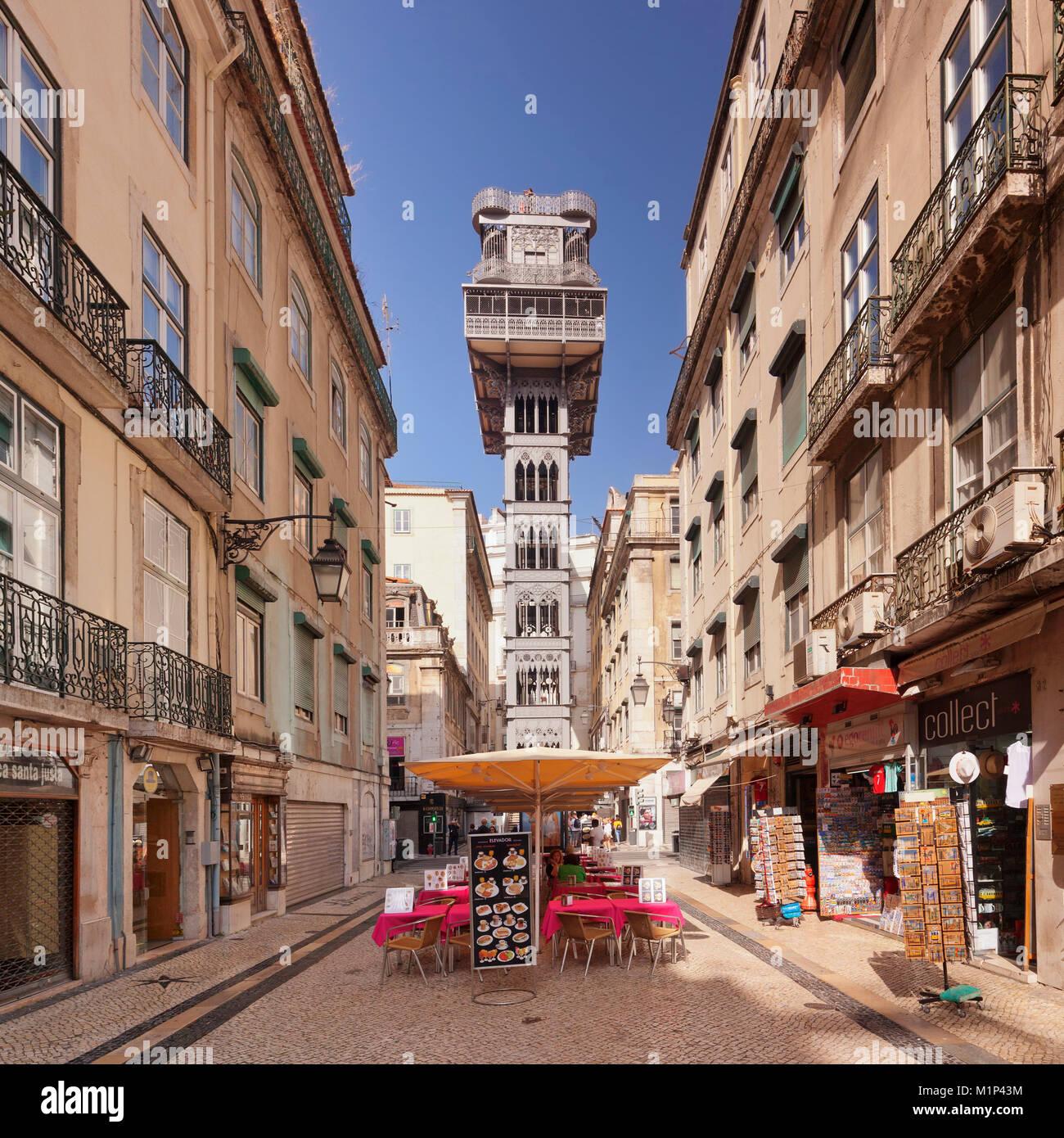 Elevador de Santa Justa (Santa Justa Elevator), Baixa, Lisbon, Portugal, Europe - Stock Image