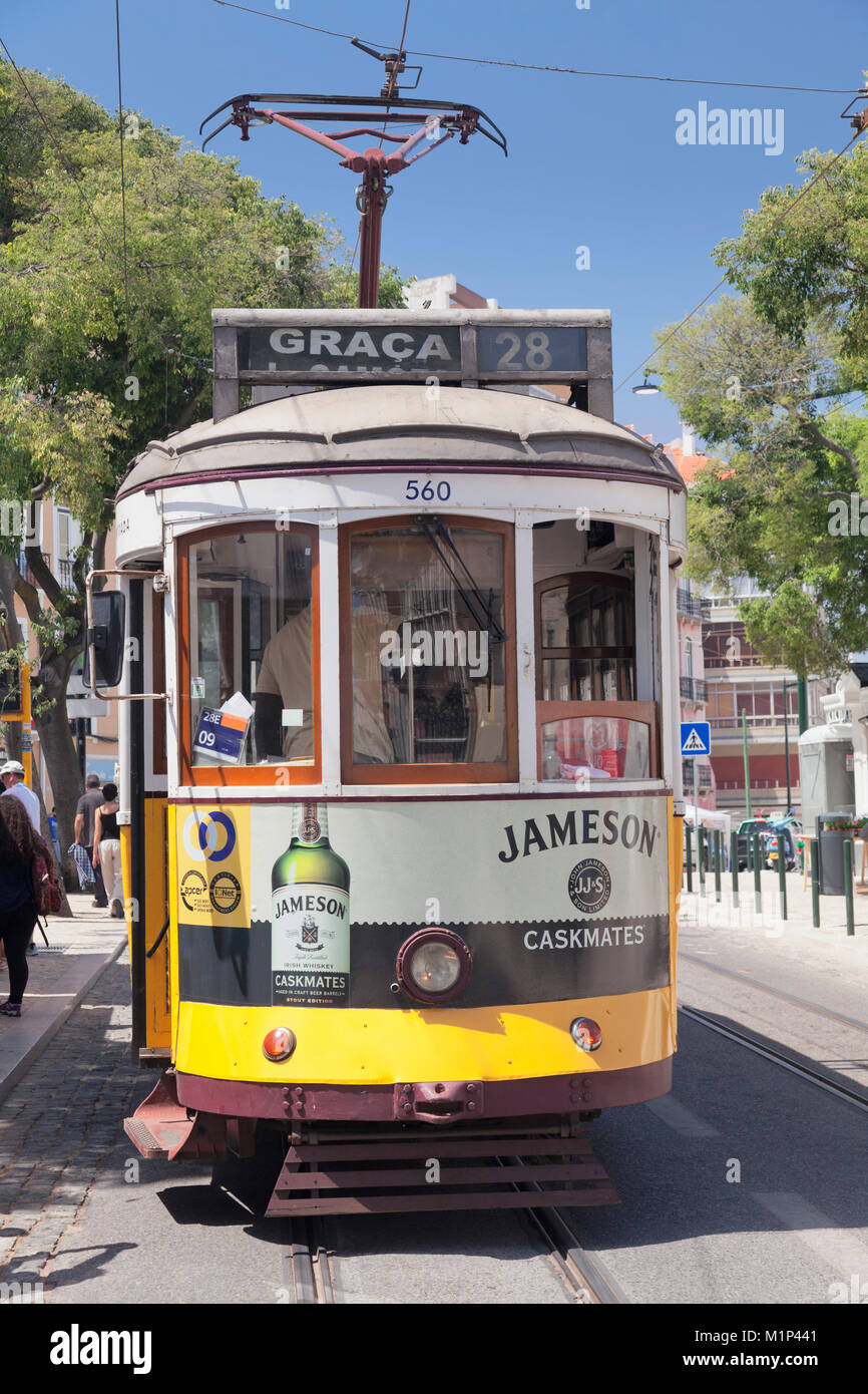 Tram 28, Alfama district, Lisbon, Portugal, Europe - Stock Image
