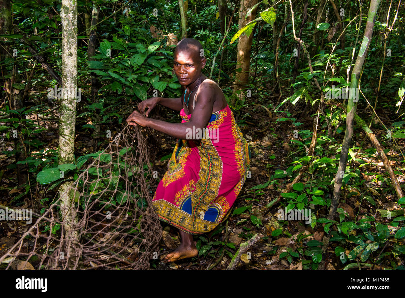 Baka pygmies on their way to go net-hunting, in the Dzanga-Sangha Special Reserve, UNESCO World Heritage Site, Central - Stock Image