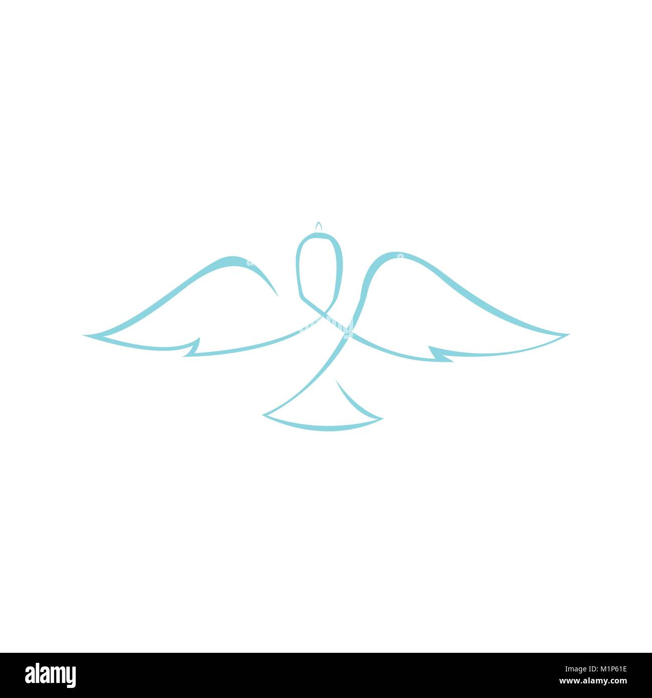 Abstract Dove Wings Line Art Symbol Vector Illustration