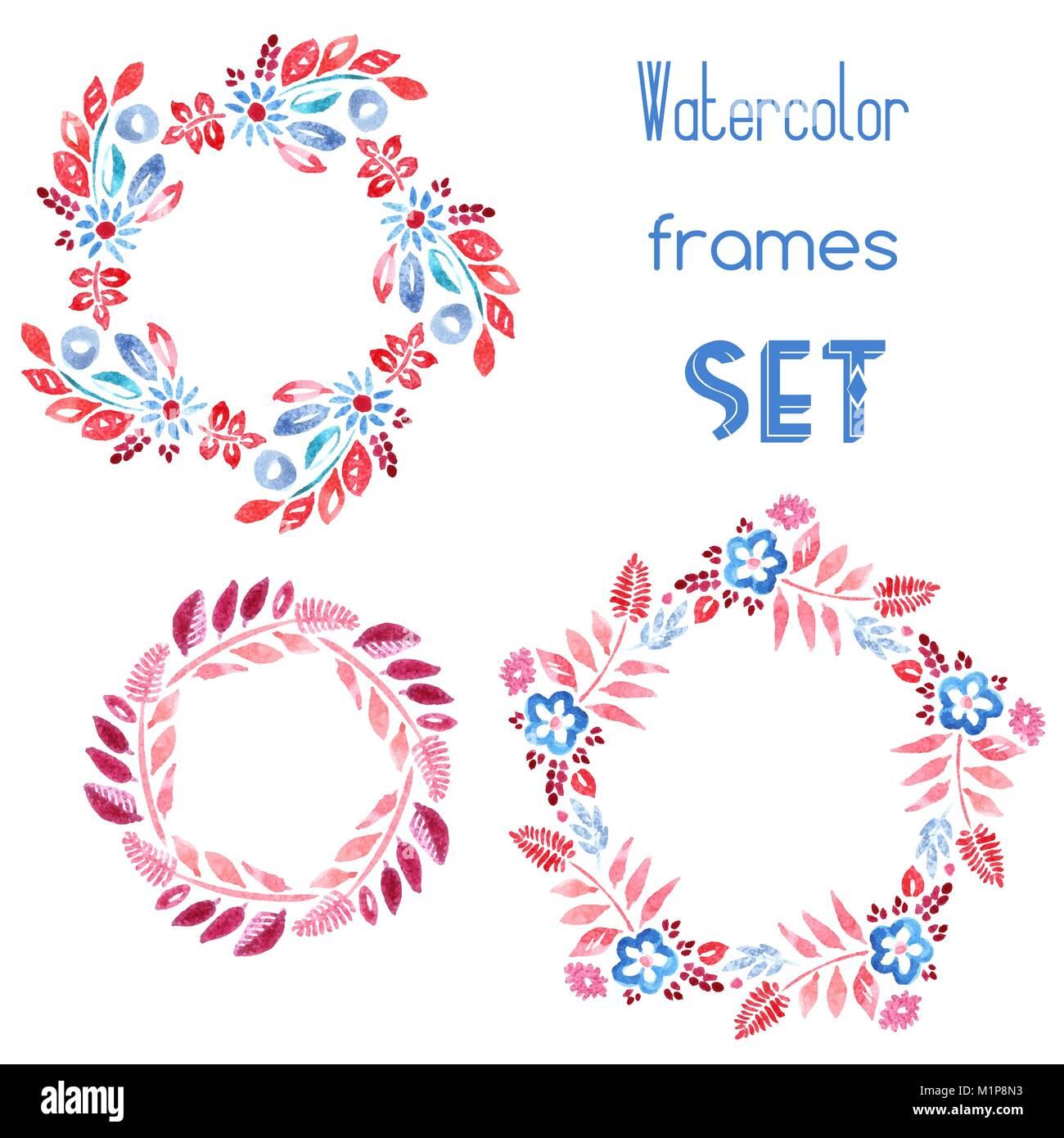 Watercolor floral frames set Stock Vector Art & Illustration, Vector ...