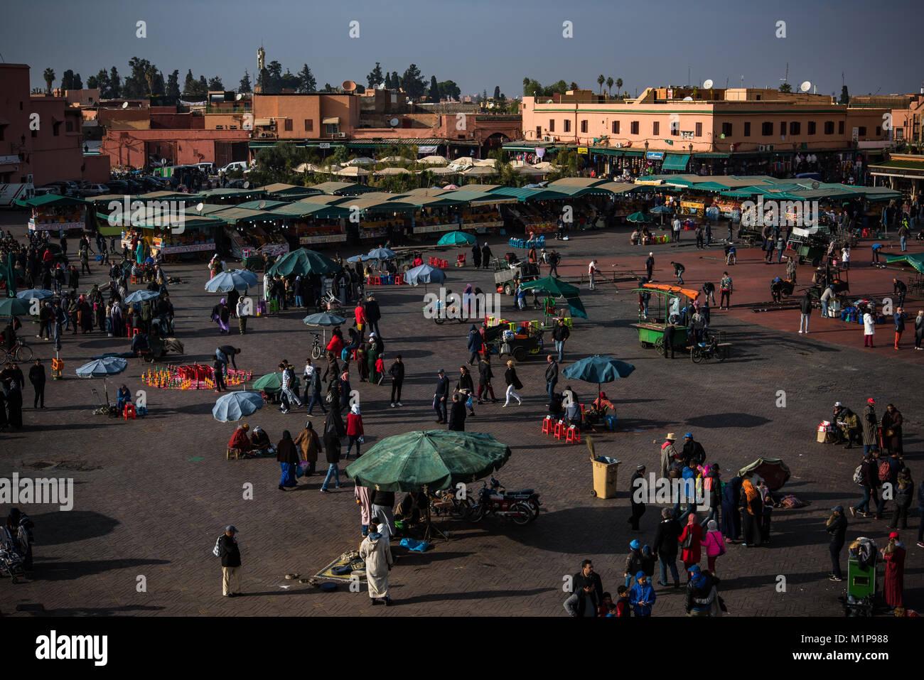 Marrakech,Morocco - January 2018:  Food stalls on Jamma el Fna market square in Marrakesh,Morocco. Stock Photo