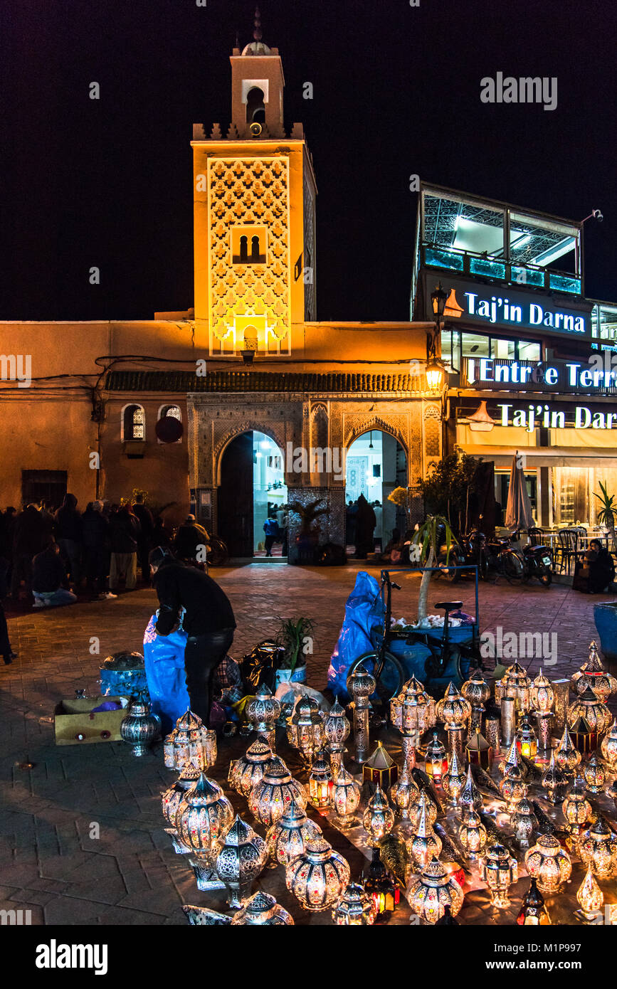 Marrakech,Morocco - January 2018: Traditional Moroccan lams sold  in Jamaa el Fna market square at night. Stock Photo