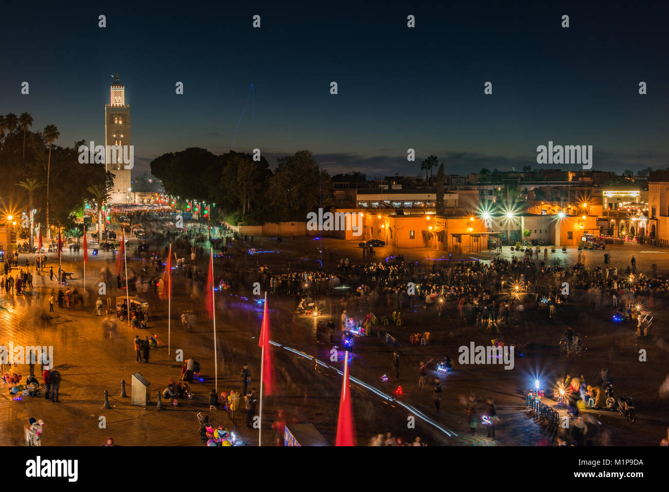 Marrakech,Morocco - January 2018: Aerial view over Jamaa el Fna market square at evening. Stock Photo