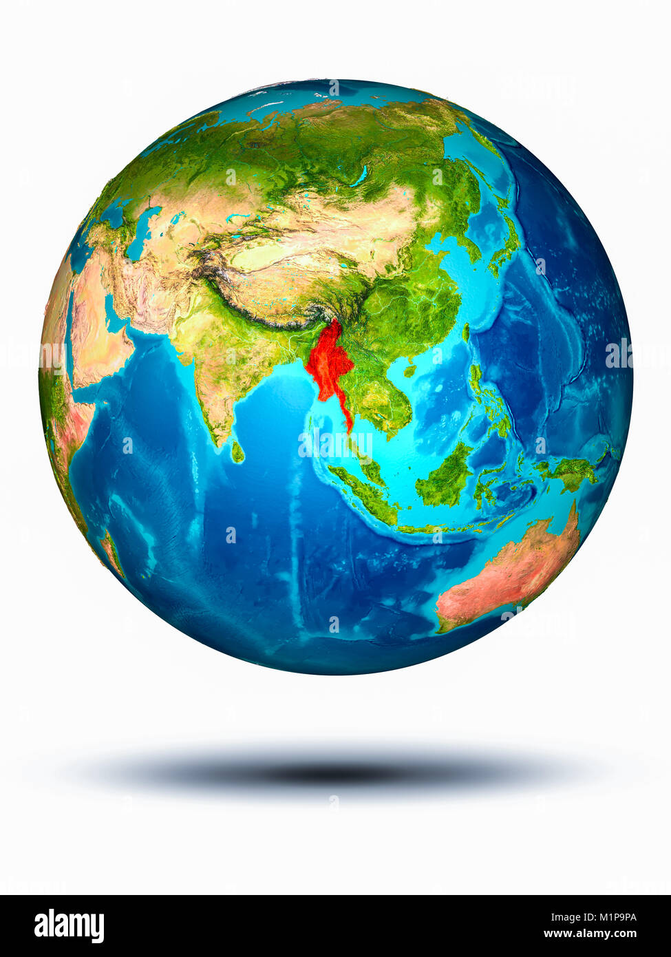 Myanmar in red on model of planet Earth hovering in space. 3D illustration isolated on white background. Elements Stock Photo