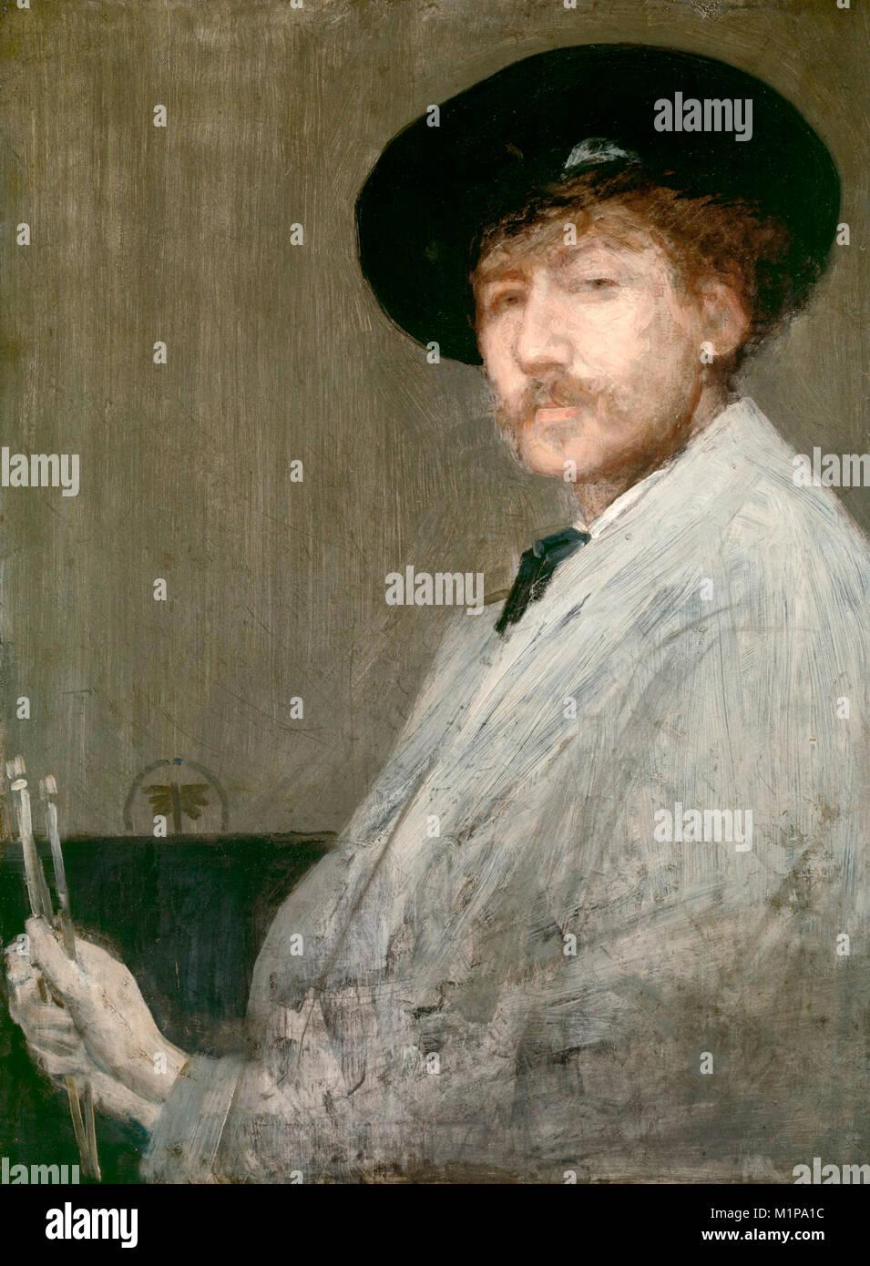 Portrait of Whistler, a self-portrait of James Abbott McNeill Whistler - Stock Image