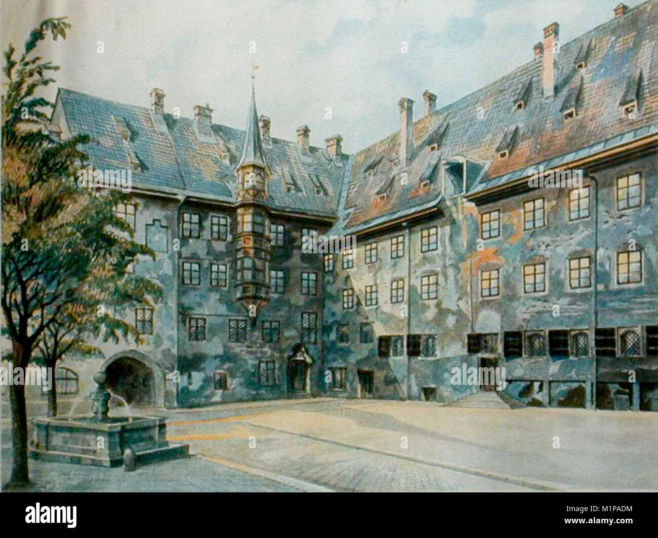 The Courtyard of the Old Residency in Munich by Adolf Hitler Stock Photo