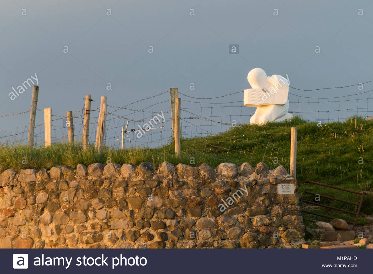 The Praying Shell sculpture at Bolton le Sands on the Morecambe Bay Coast - Stock Image