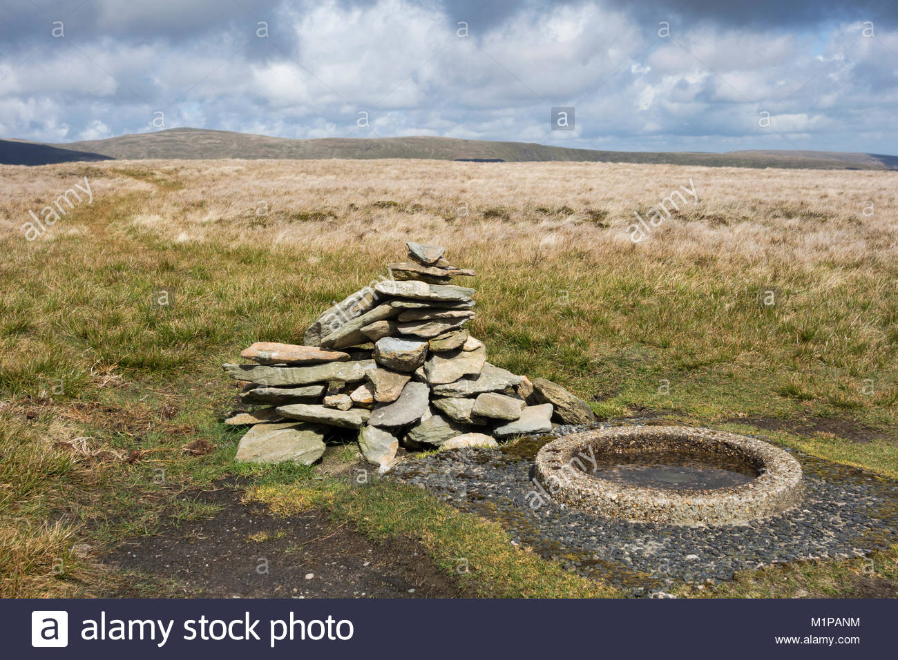 The summit of Branstree, a Wainwright in the Far Eastern Lake District, near Haweswater and Mardale Head - Stock Image