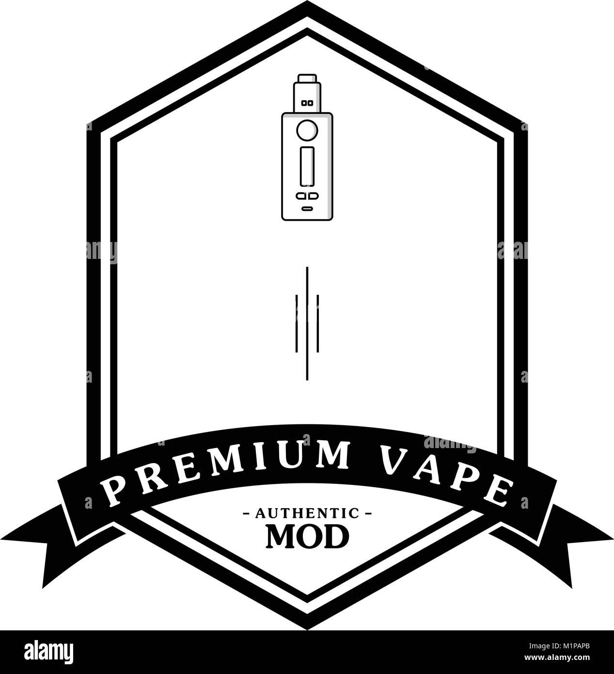 electric cigarette personal vaporizer e-cigarette retro label badge vector - Stock Image
