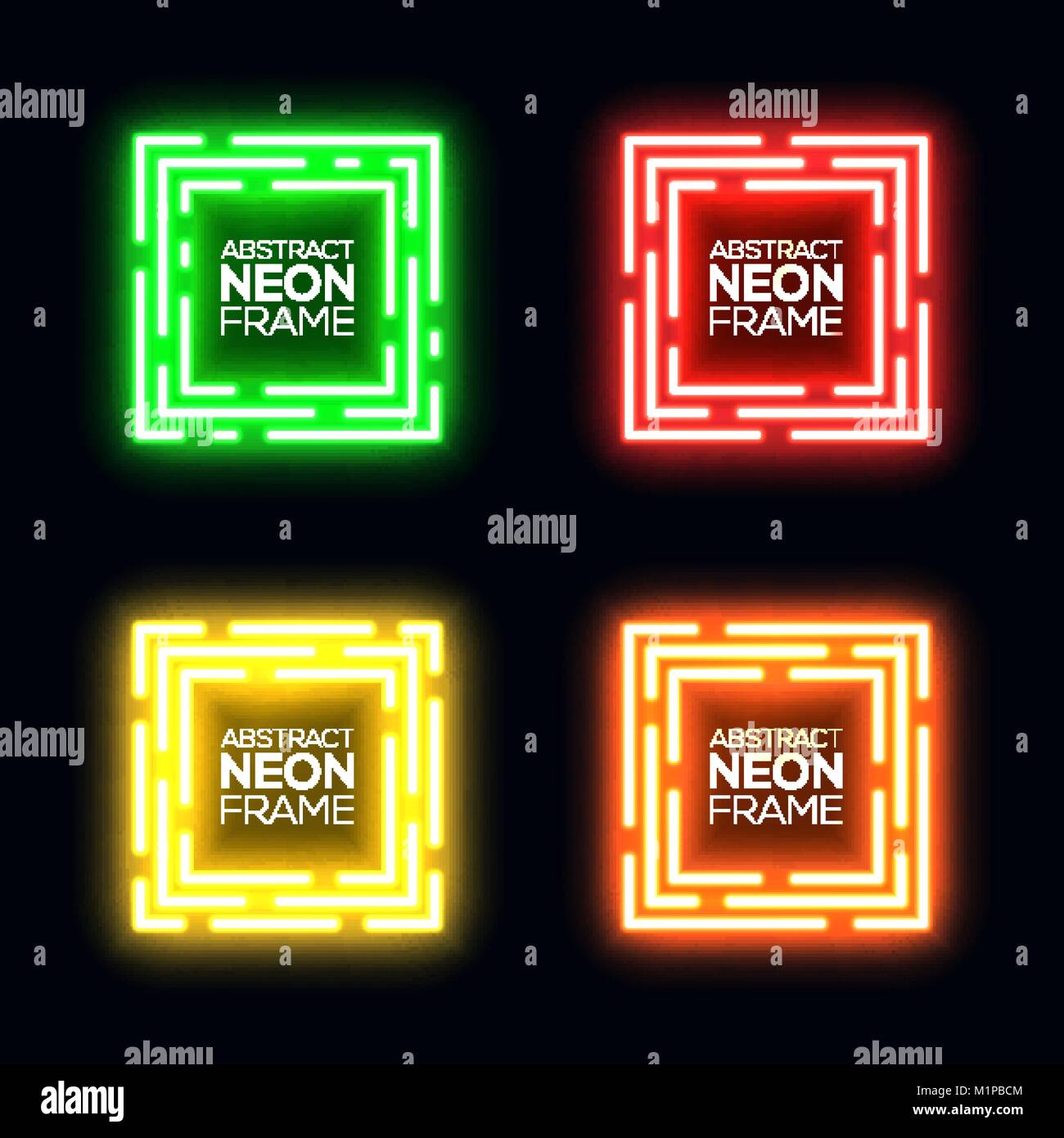 Neon light square set. Shining rectangle techno frame collection. Night club electric 3d banner on dark backdrop. - Stock Image