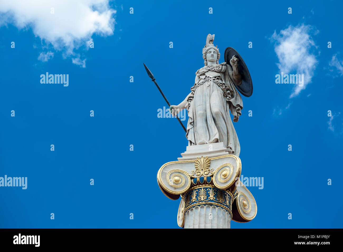 The goddess Athina, the goddess of wisdom and protector of the city of Athens, Greece. - Stock Image