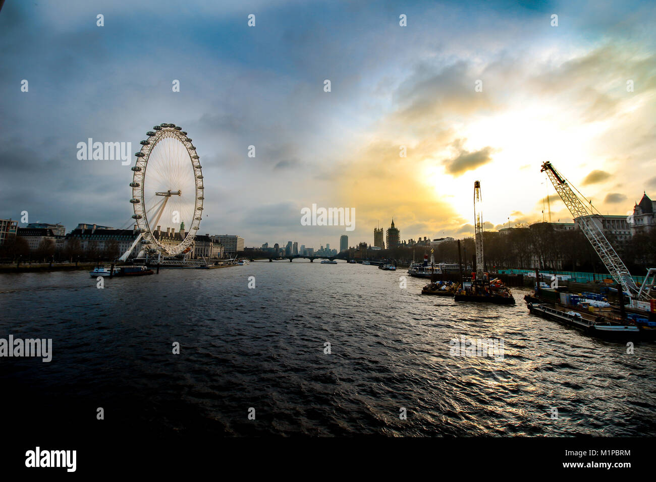 View from Golden Jubilee Bridge over the River Thames with the London Eye, London, England - Stock Image