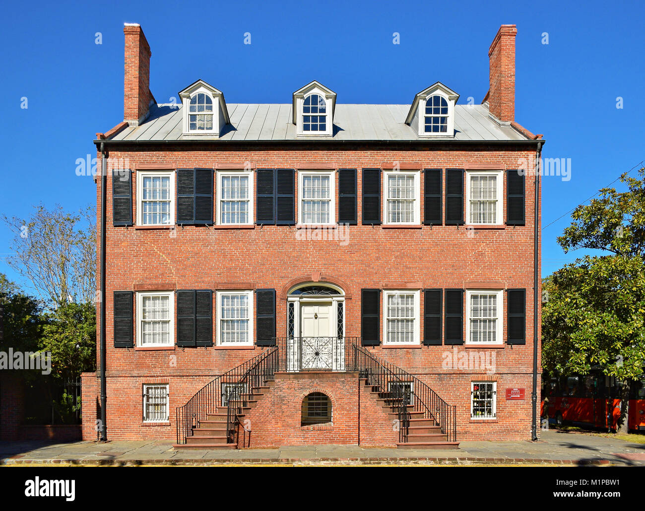 The Isaiah Davenport historic house and now a museum. Savannah, Georgia, United States. - Stock Image