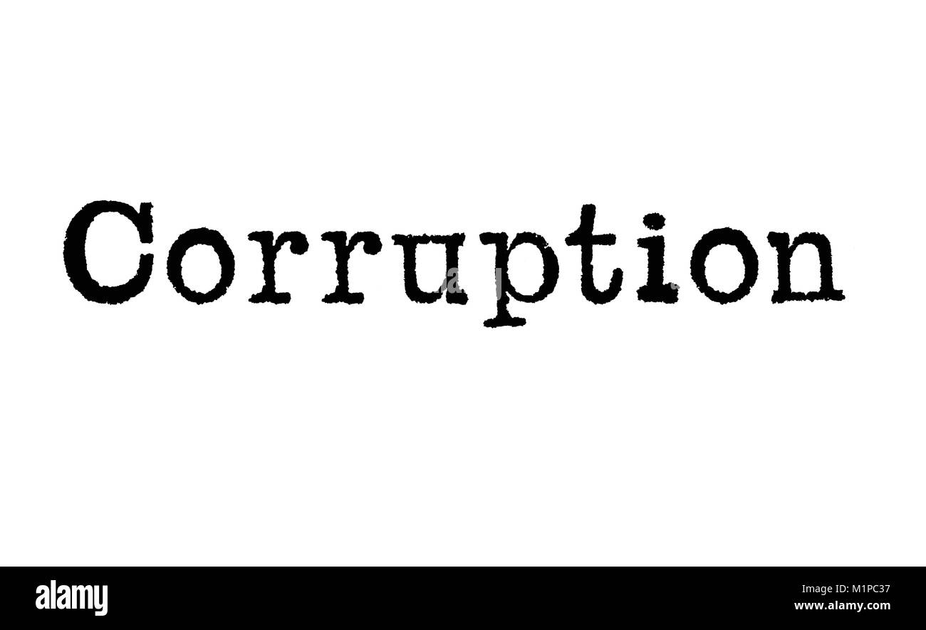 The word Corruption from a typewriter on a white background - Stock Image