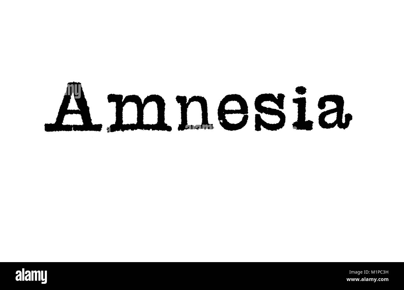 The word Amnesia from a typewriter on a white background - Stock Image