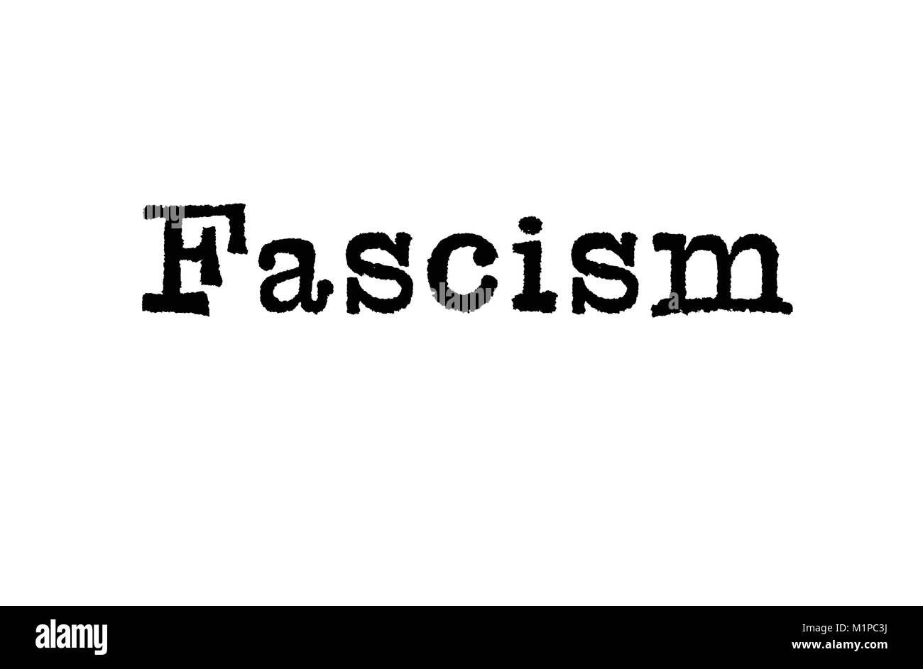 The word Fascism from a typewriter on a white background - Stock Image