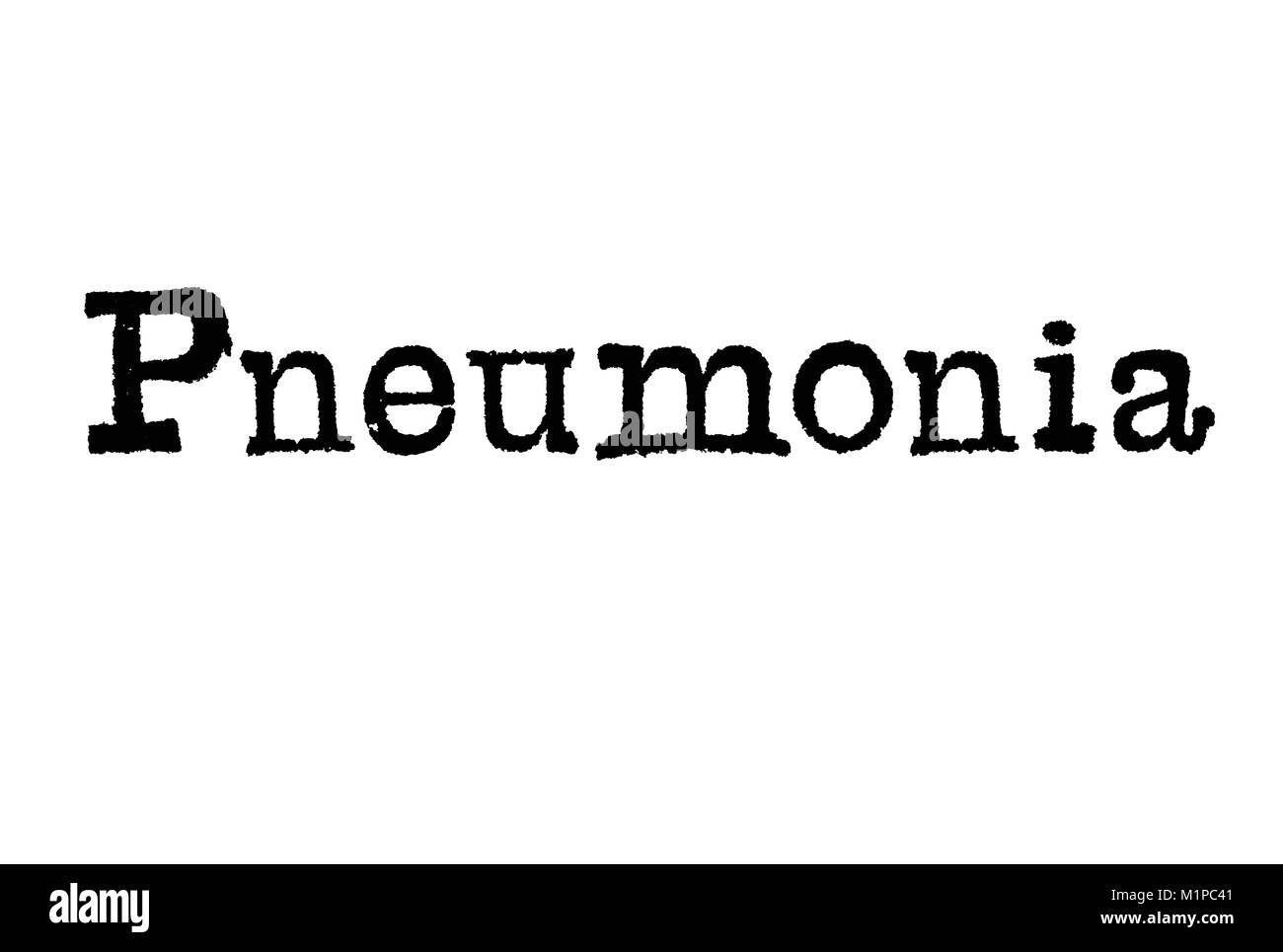 The word Pneumonia from a typewriter on a white background - Stock Image