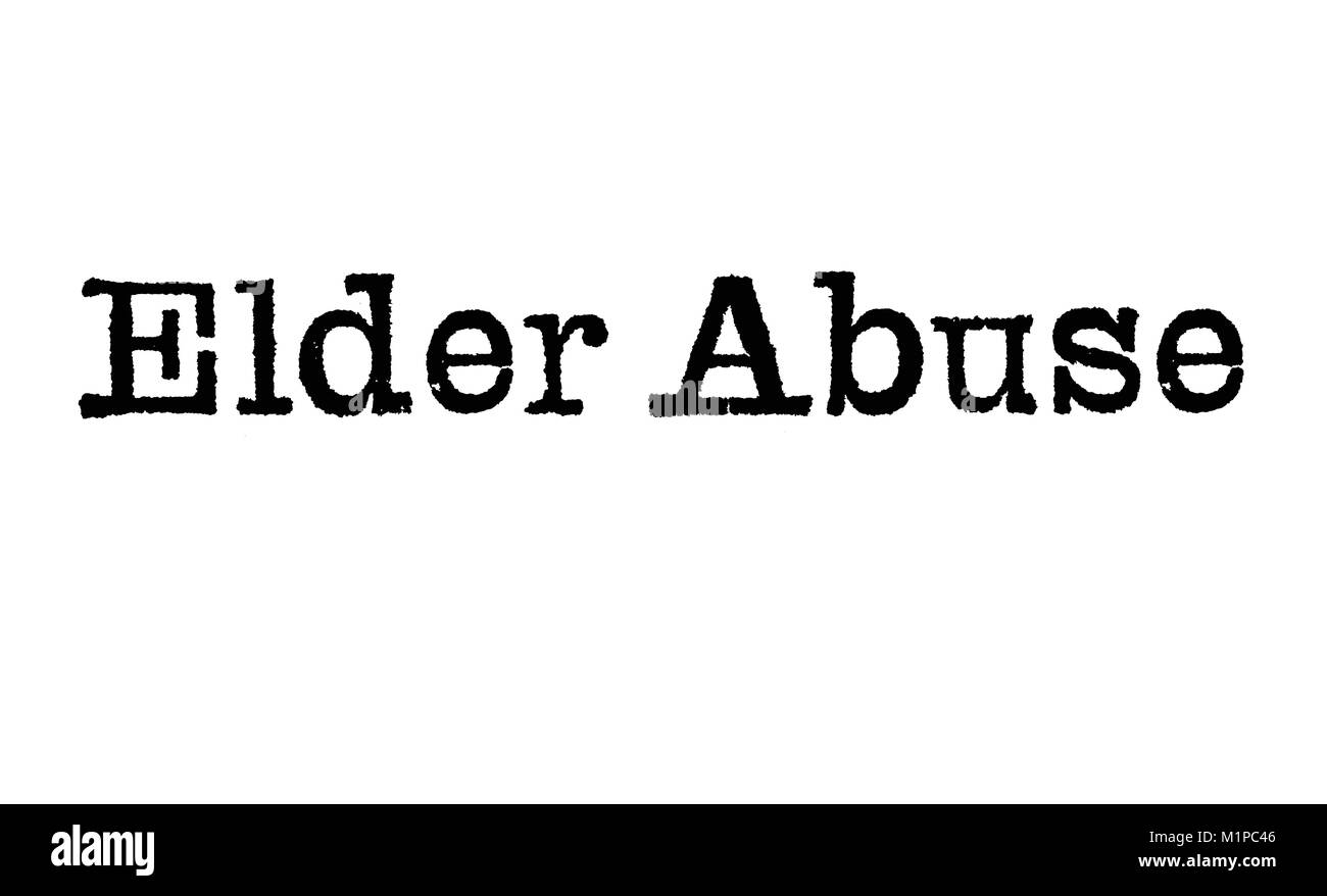 The word Elder Abuse from a typewriter on a white background - Stock Image