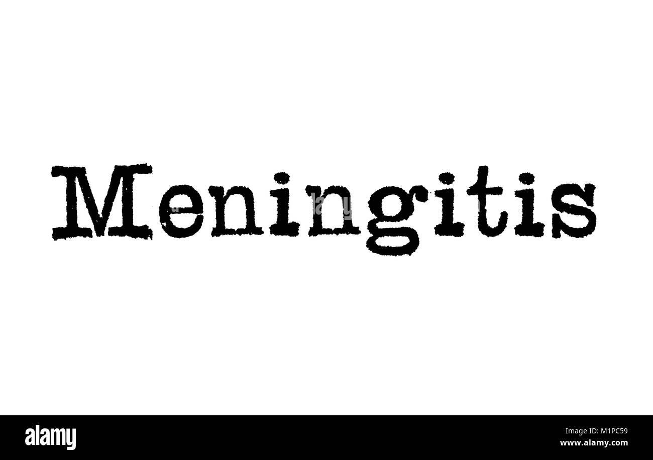 The word Meningitis from a typewriter on a white background - Stock Image