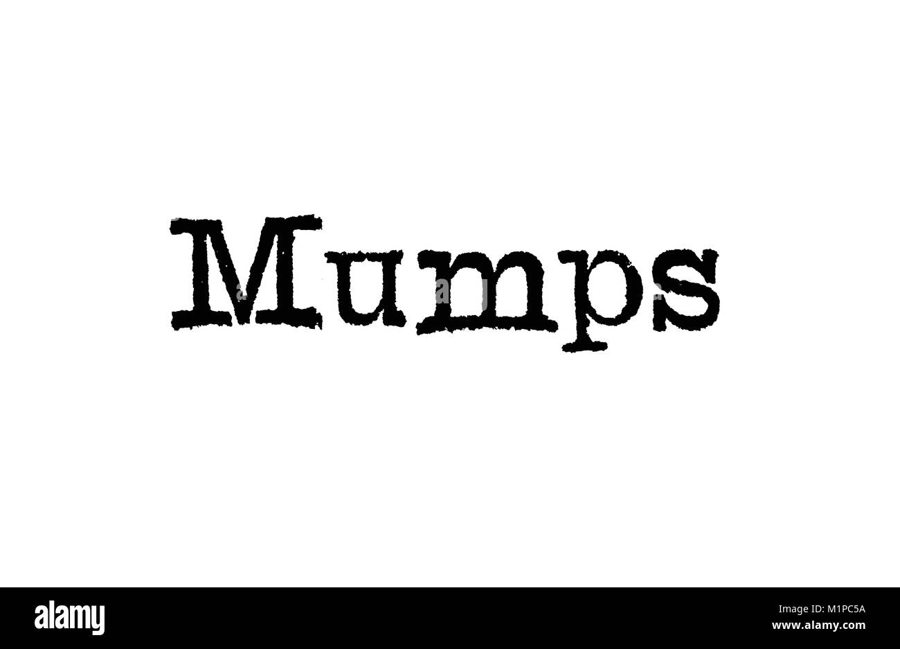 The word Mumps from a typewriter on a white background - Stock Image