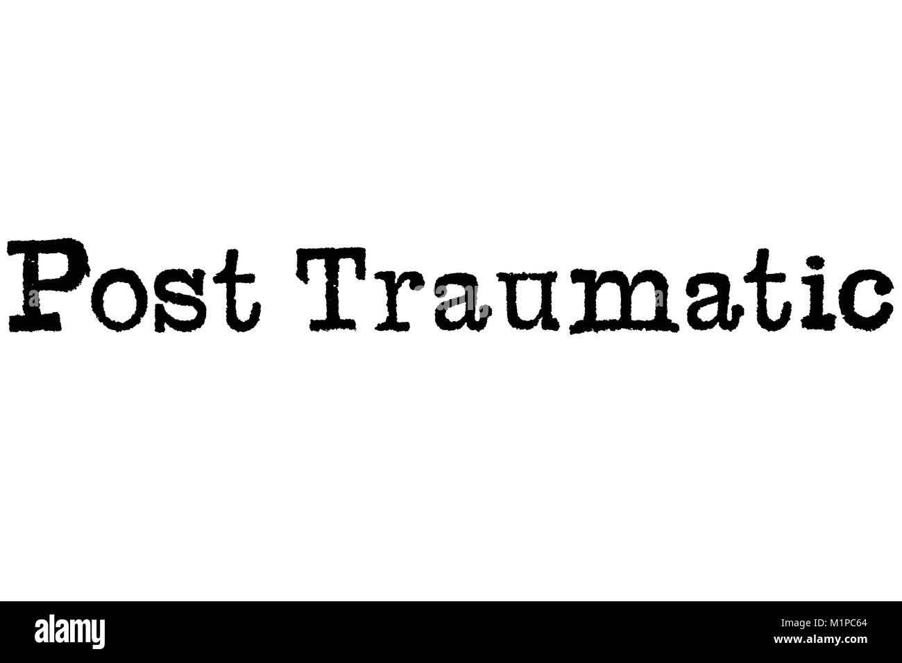 The word Post Traumatic from a typewriter on a white background - Stock Image
