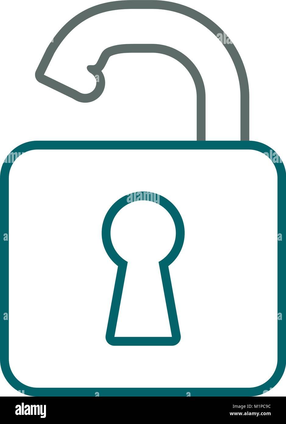 opened padlock icon image - Stock Image