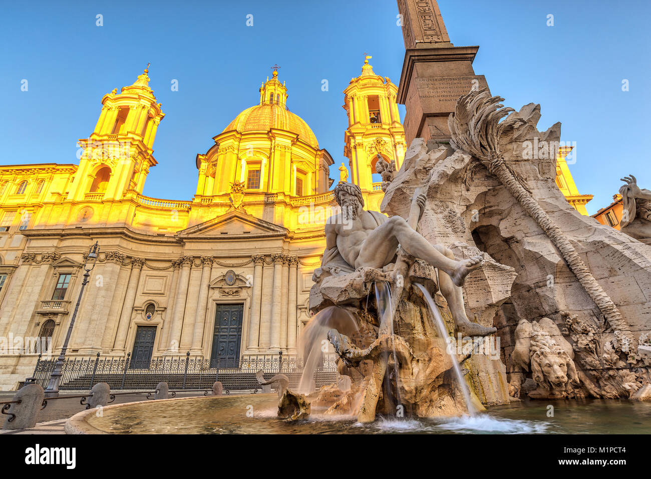 Rome Piazza Navona and Fountain of Neptune, Rome, Italy - Stock Image