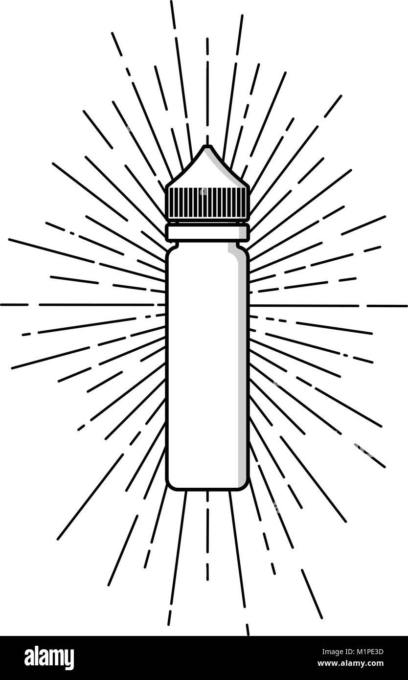 personal vaporizer e-cigarette e-juice liquid plastic bottle spark sunray burst vector art - Stock Image