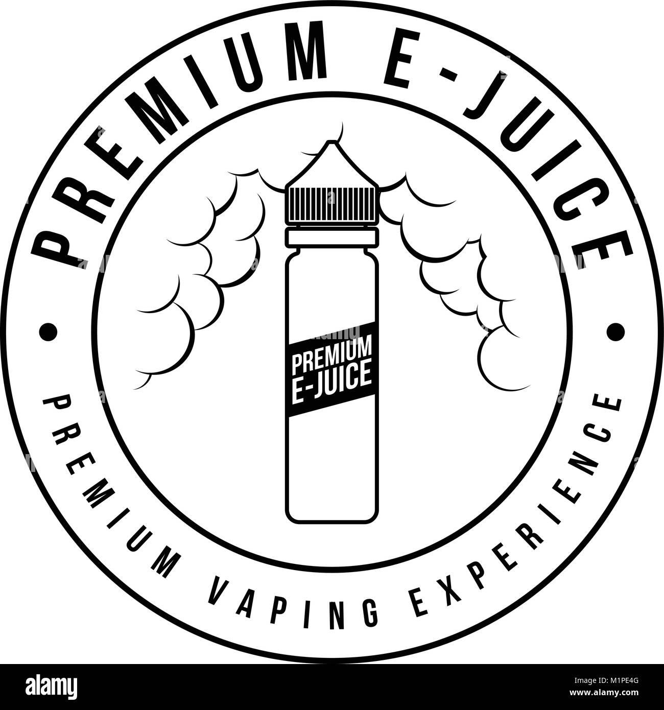 personal vaporizer e-cigarette e-juice liquid label badge vector art - Stock Image
