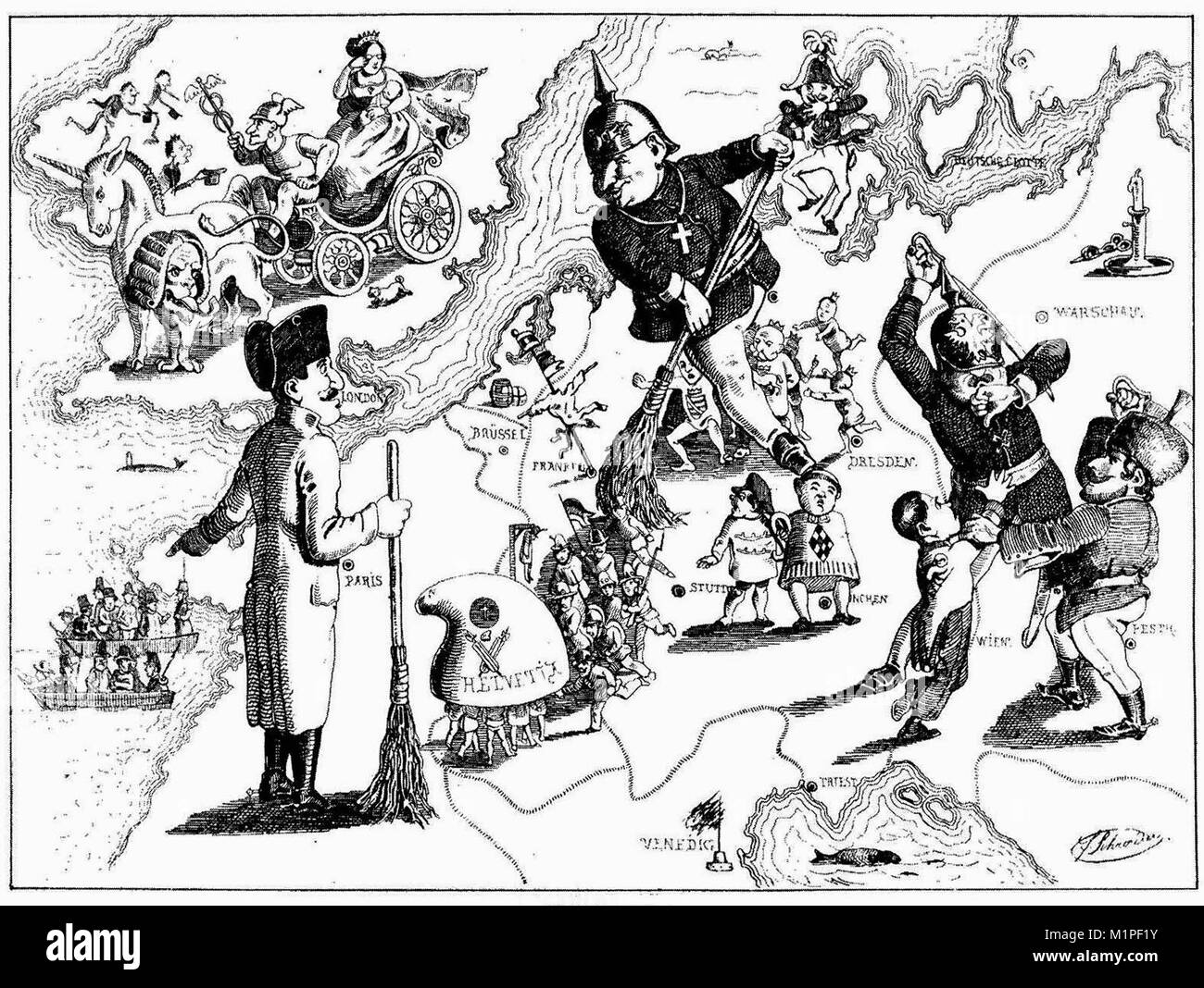 A caricature by Ferdinand Schröder on the defeat of the revolutions of 1848/49 in Europe - Stock Image