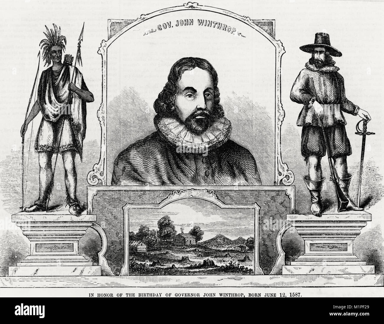 Governor John Winthrop - In honor of the birthday of Governor John Winthrop, born June 12, 1587 - Stock Image