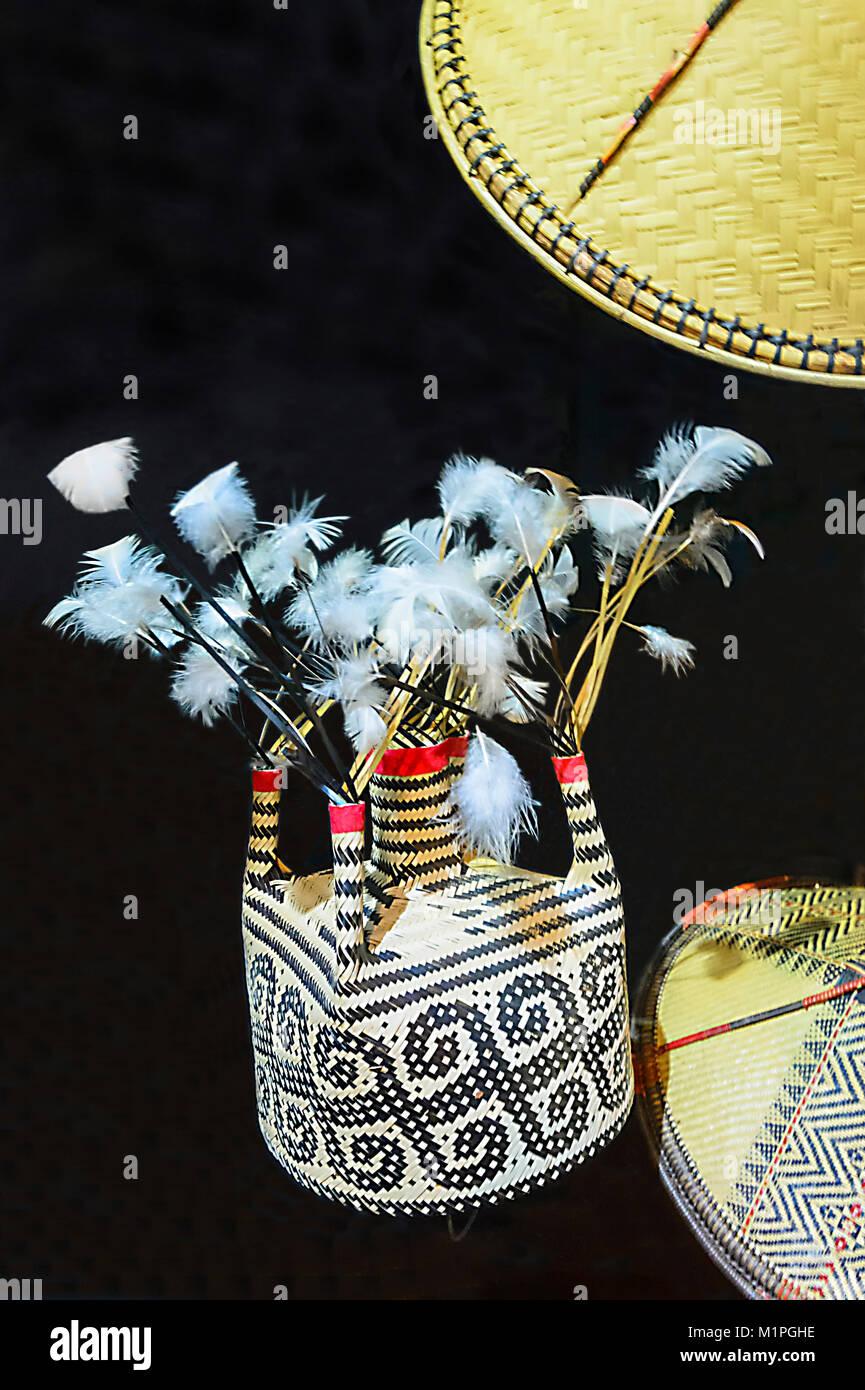 Traditional Murut Tahol headdress displayed at the Muzium Sabah, Kota Kinabalu, Sabah, Borneo, Malaysia - Stock Image