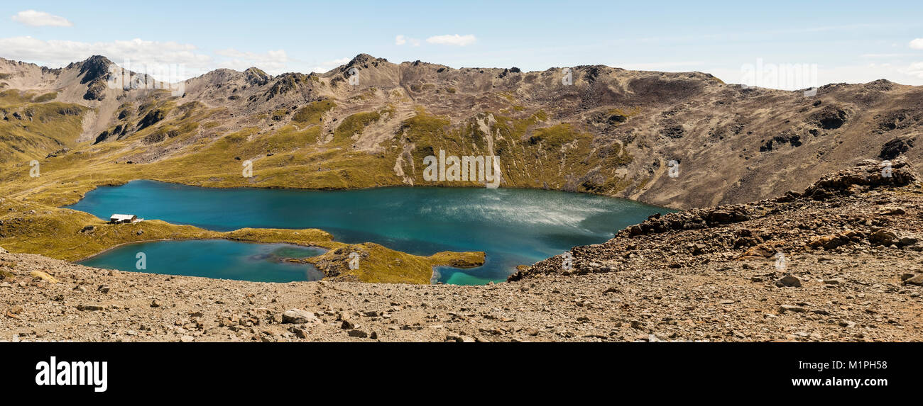 Views of emerald lakes from tramping in  Nelson Lakes park, Nelson, New Zealand. - Stock Image